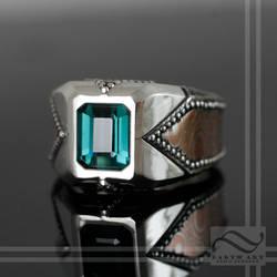 A beautiful hand made ring with mokume gane inlay