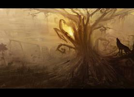 The guardian wolf by AmitSadik