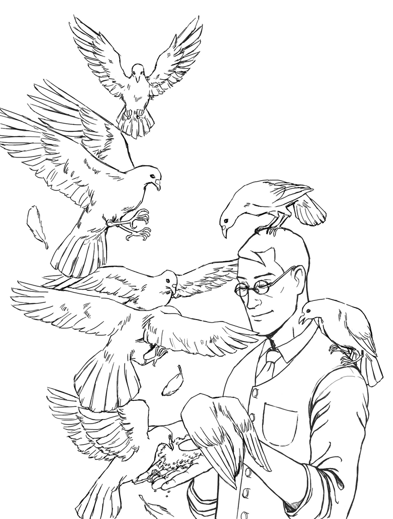 Medic feeding his birds by Chips13