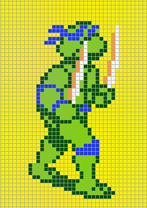 Teenage Mutant Ninja Turtles III. Pixel By PixelArtNES Leonardo.