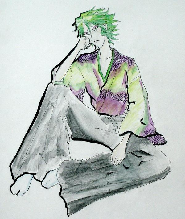 Sekhmet/Naaza in a kimono.