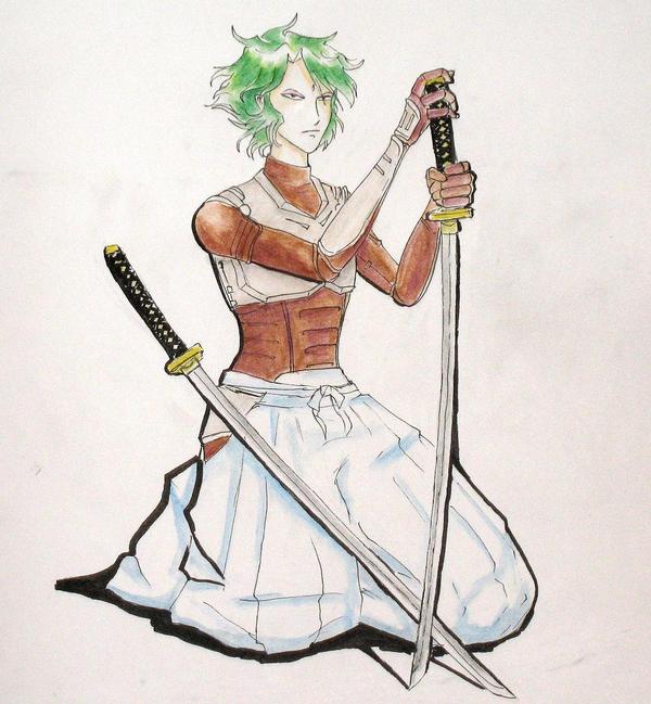 Sekhmet/Naaza in subarmor in kimono pants holding a sword.