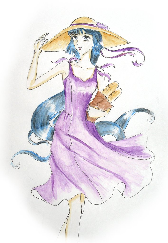Kayura in a dress wearing a hat