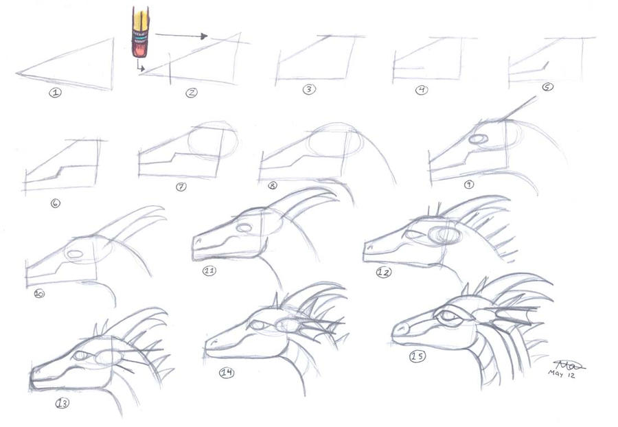 Easy Dragon Head Tutorial 1 By Who Stole My Name On Deviantart