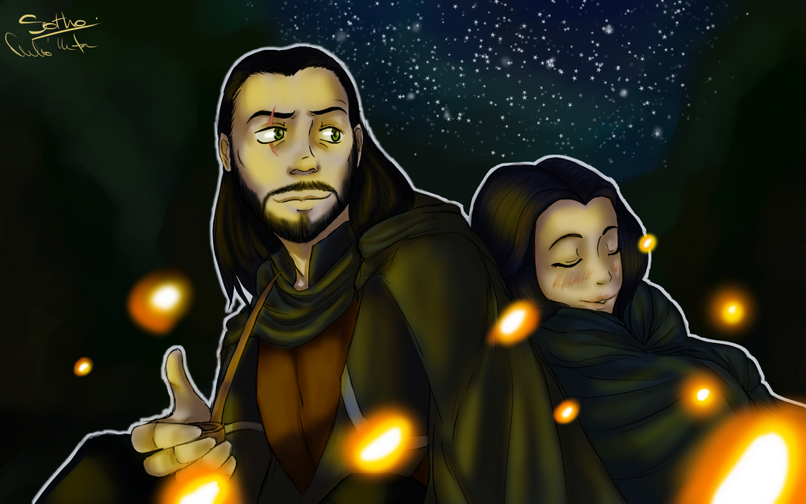 Beside the campfire by Sothorill