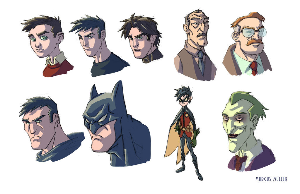 Batman Face Sketches by marcusmuller