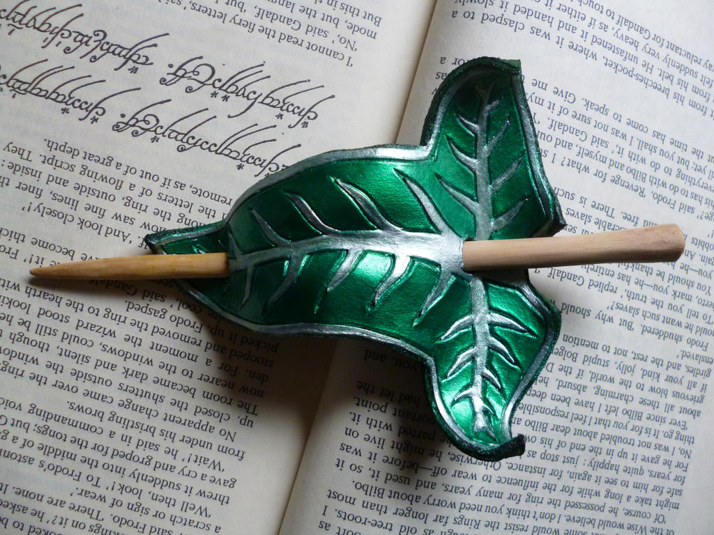 Fellowship/ Lorien Leaf Leather Hair Barrette by emma-hobbit