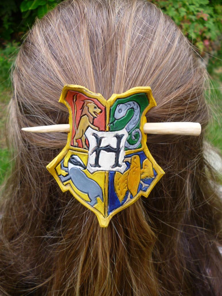 Harry Potter Hogwarts Leather Hair Barrette by emma-hobbit