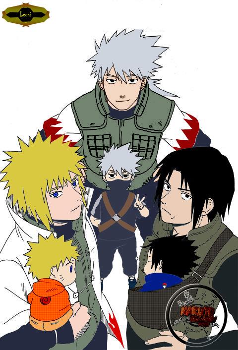 Sakumo, kakashi, Fugaku, Sasuke, Naruto e Minato by leoONI ...