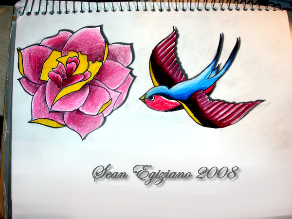 tattoo flash bird and flower - flower tattoo