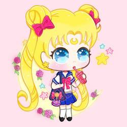 Sailor Moon with bubbletea