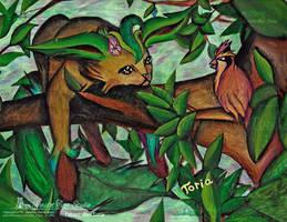 Pokemon- Leafeon And Pidgey