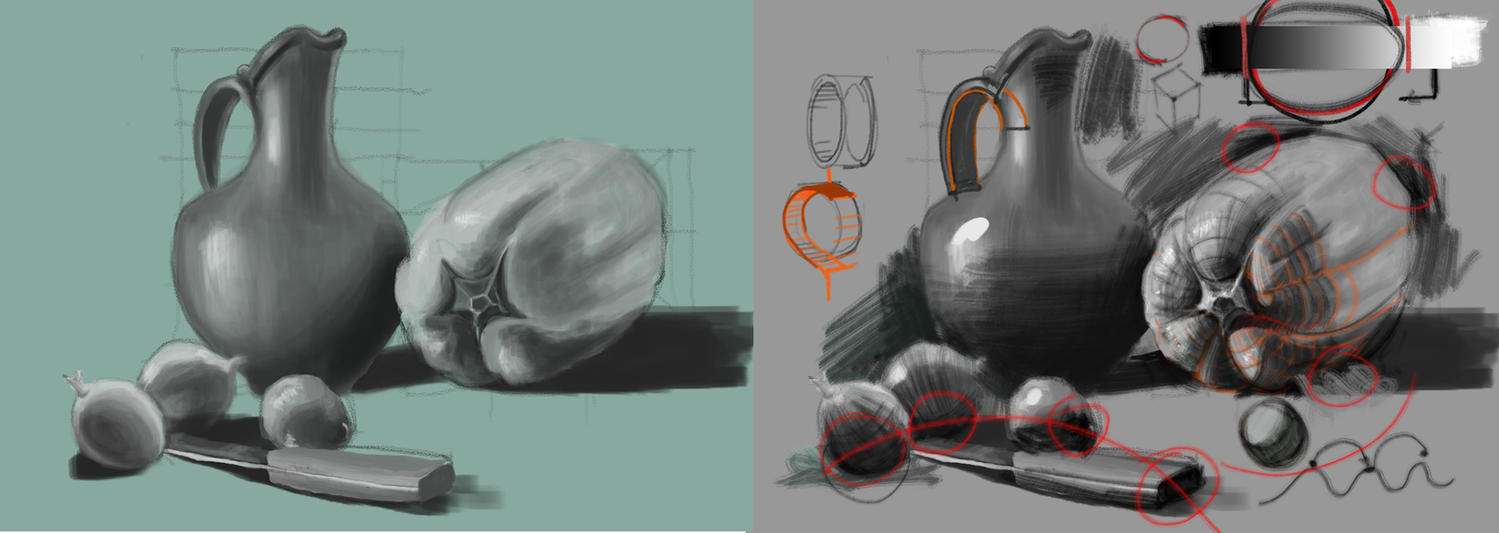 Still life study paintover by vladgheneli