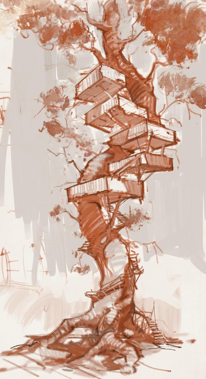 Tree house sketch by vladgheneli