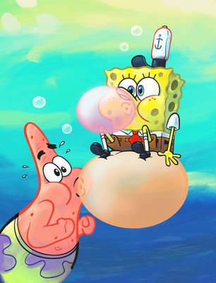 SpongeBob Patrick Bubblegum by shermcohen