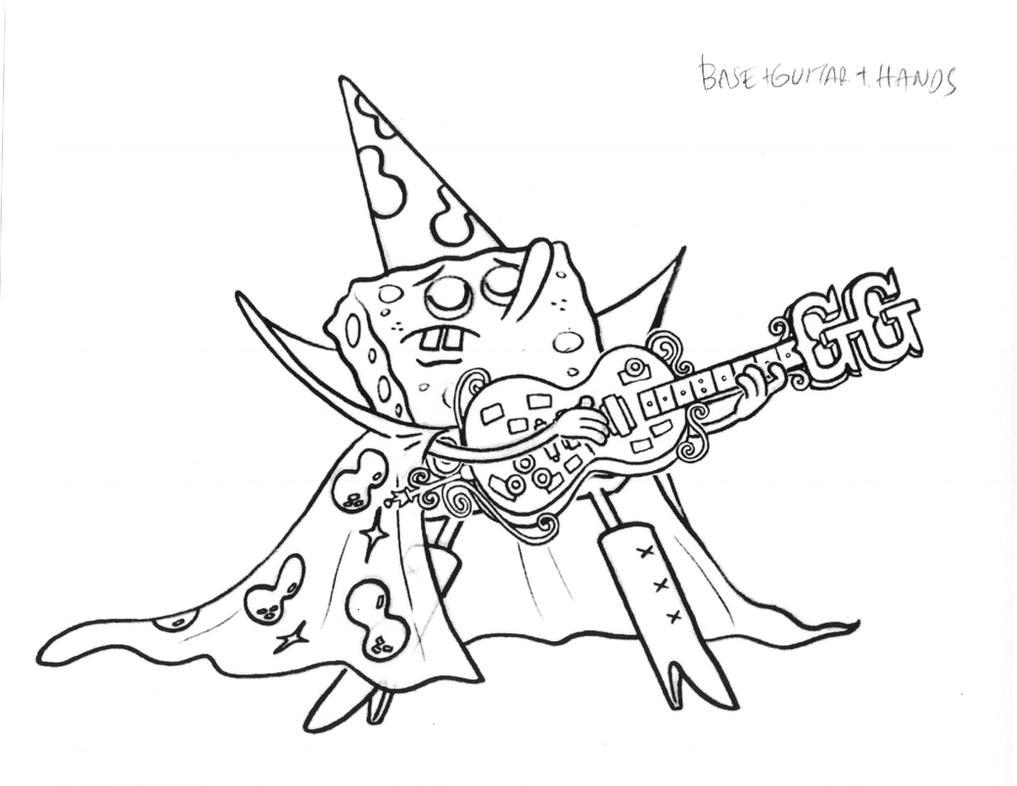 Glam Rock SpongeBob With Goofy Goober Guitar By Shermcohen