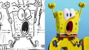 SpongeBob CG vs pencil