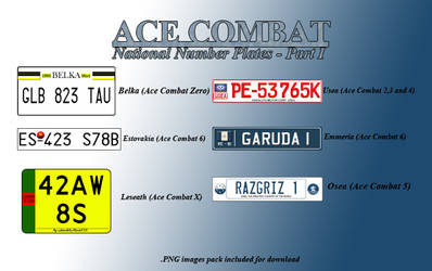 Ace Combat Number Plates by Hotrod89