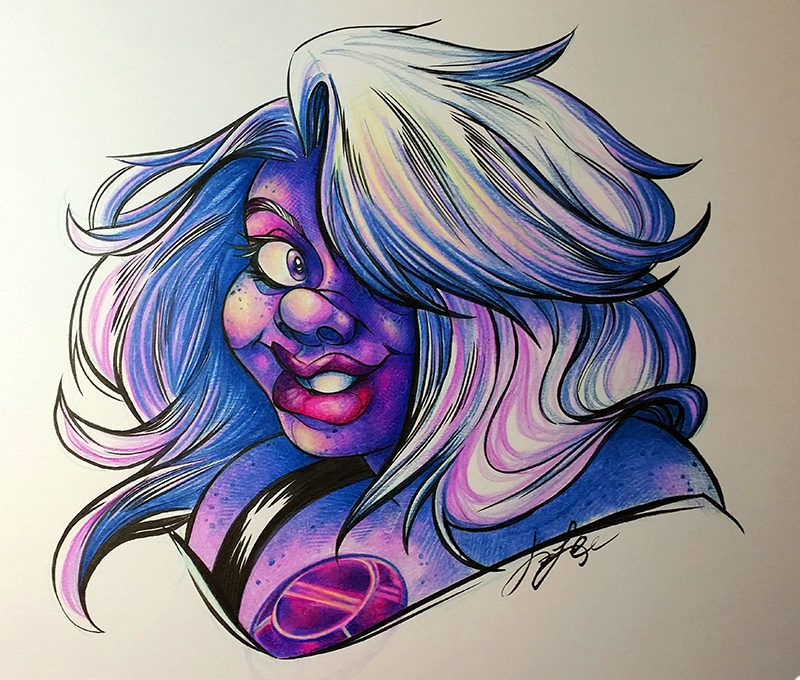 I've honestly never seen a single minute of Steven Universe. But I've always been crazy intrigued by the character designs. I was happy to pick up this traditional commission. It gave me an excuse ...