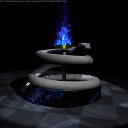 Snake fountain w/ fire