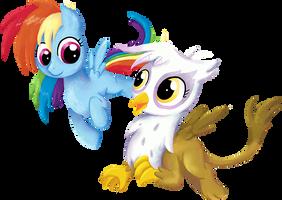 My Little Pony - Rainbow Dash and Gilda by kaizerin