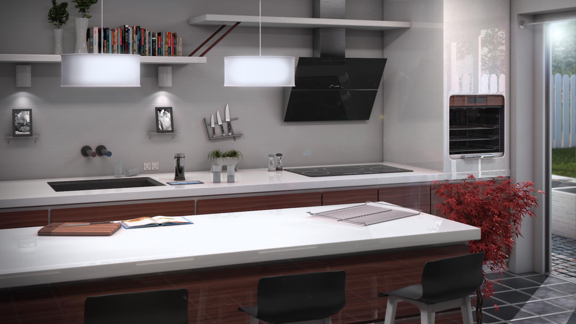 ... Kitchen Interior Render Finished Design!! By Qutiix
