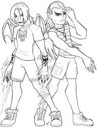 WIP - drawing - MH Raziel and Kain by Mechanic-Star