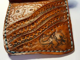 Beakdog leather wallet, close up of beakdog by Bubblypies