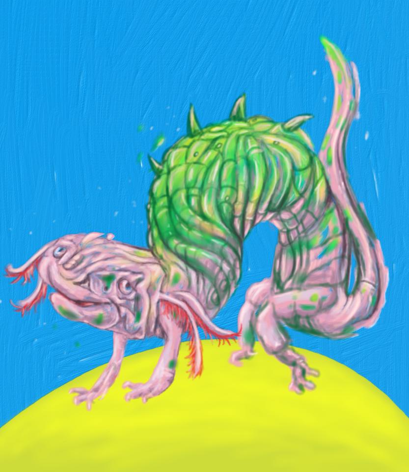 Olm transforming into werelizard by Bubblypies