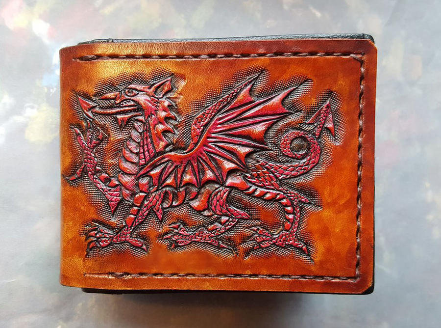 Welsh Dragon leather wallet. by Bubblypies