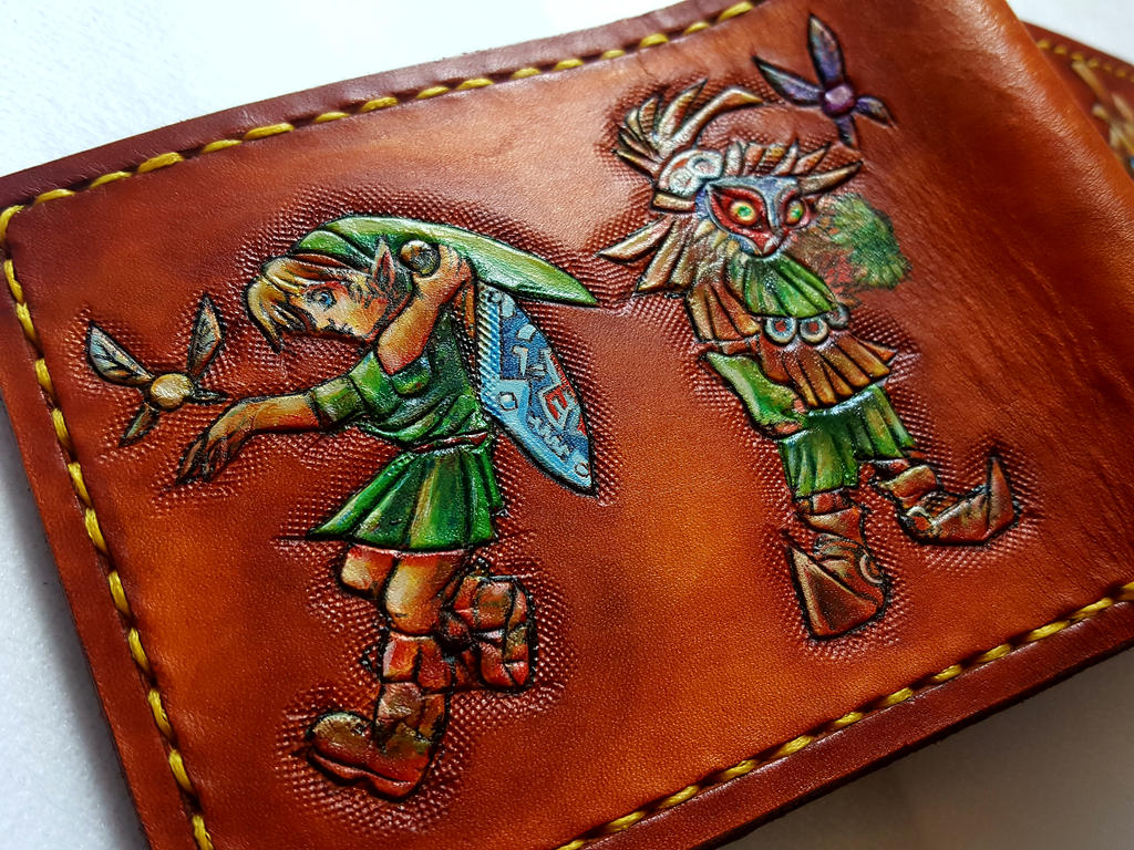 All of the Masks. Leather wallet, back by Bubblypies