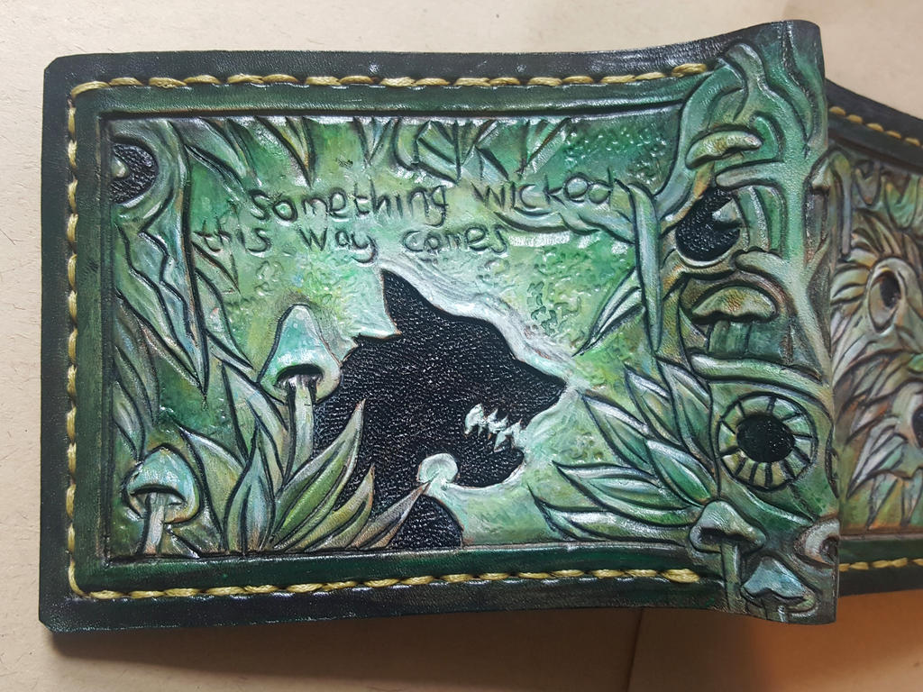Green crow skull wolf leather wallet  back by Bubblypies
