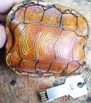 Leather turtle shell key case underside