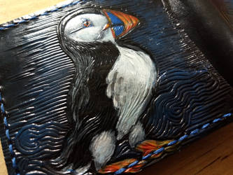 Puffins leather phone wallet close up detail by Bubblypies