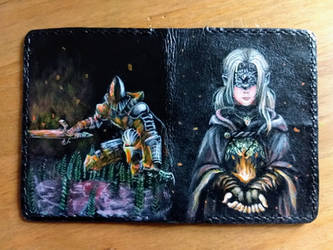 Dark souls inspired passport leather wallet back by Bubblypies