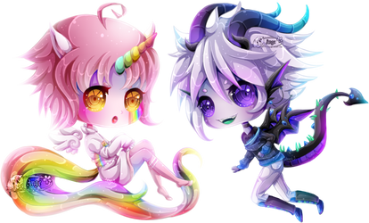 + Com + Unicorn and Dragon + by AngeKrystaleen