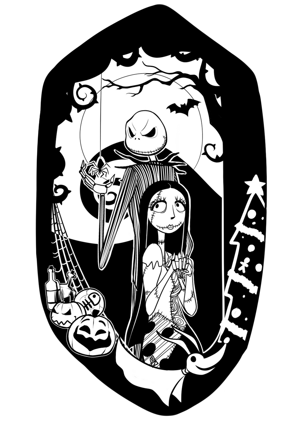 Nightmare Before Christmas Jack And Sally Silhouette