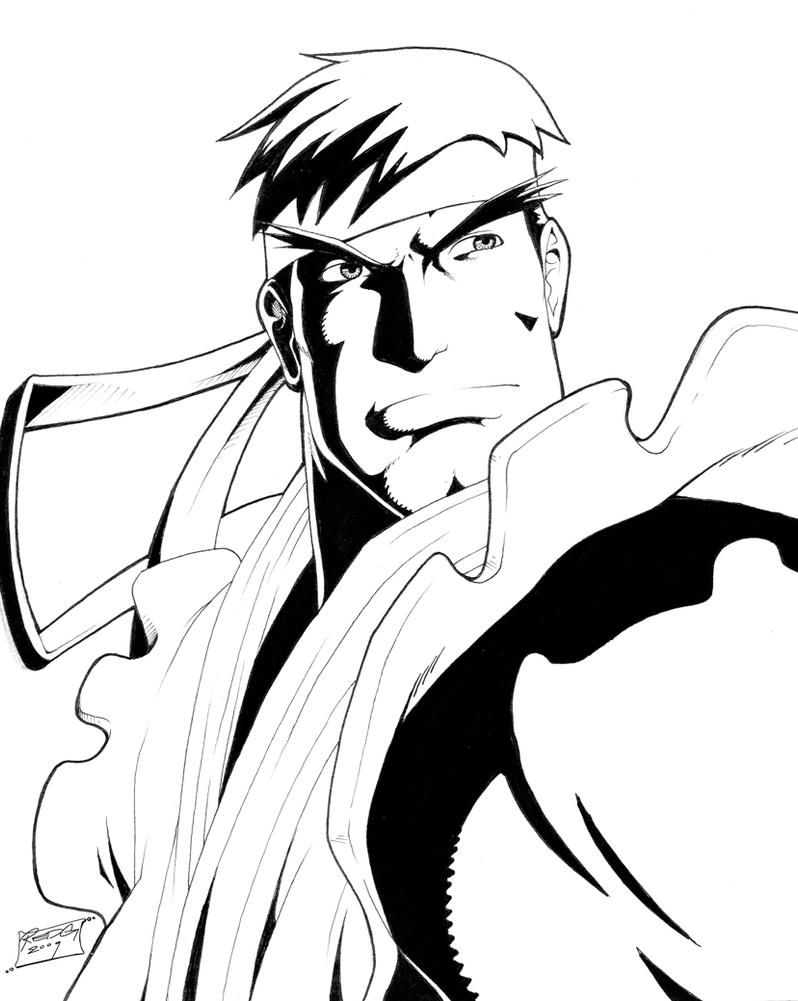 Ryu inked by redgvicente on deviantart for Ryu coloring pages
