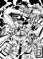 Wheeljack:Grimlock:Shockwave by khaamar