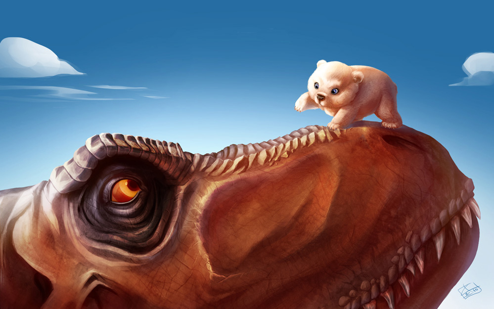 T-Rex and the Polar Bear cub by khaamar