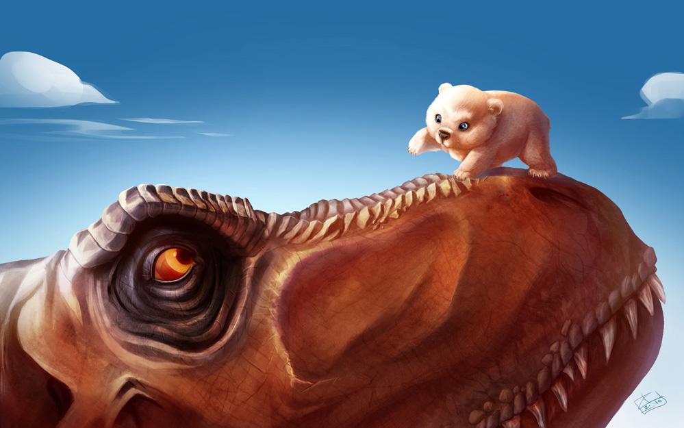 T-Rex and the Polar Bear cub by khaamar