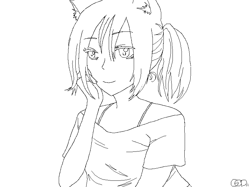 Line Art Mango : Neko girl lineart by captain mango on deviantart