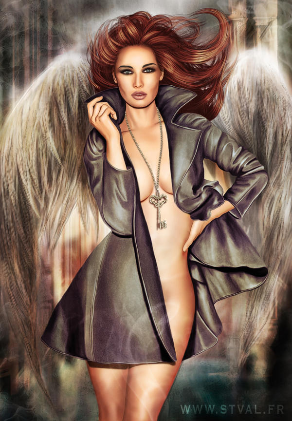 Angel with the key to the bottomless pit by StephanieVALENTIN