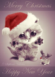 Merry Christmas and Happy New Year Cat and Mouse