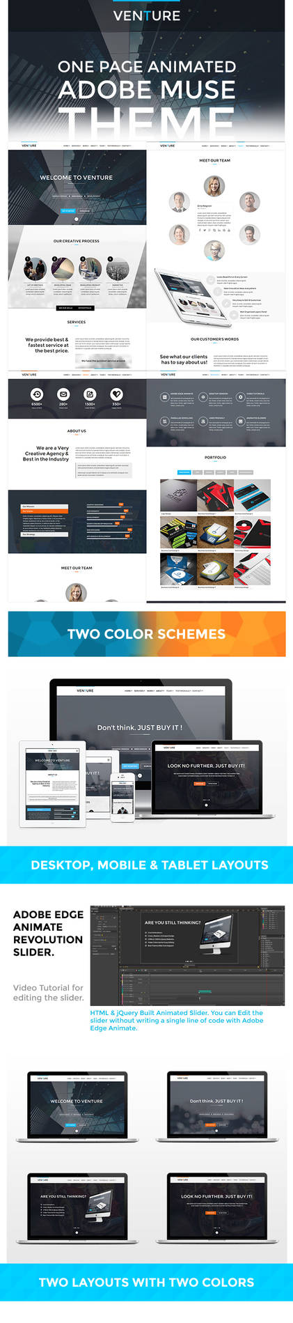 Venutre: Adobe Muse Animated Website Template by VMSDesigns on