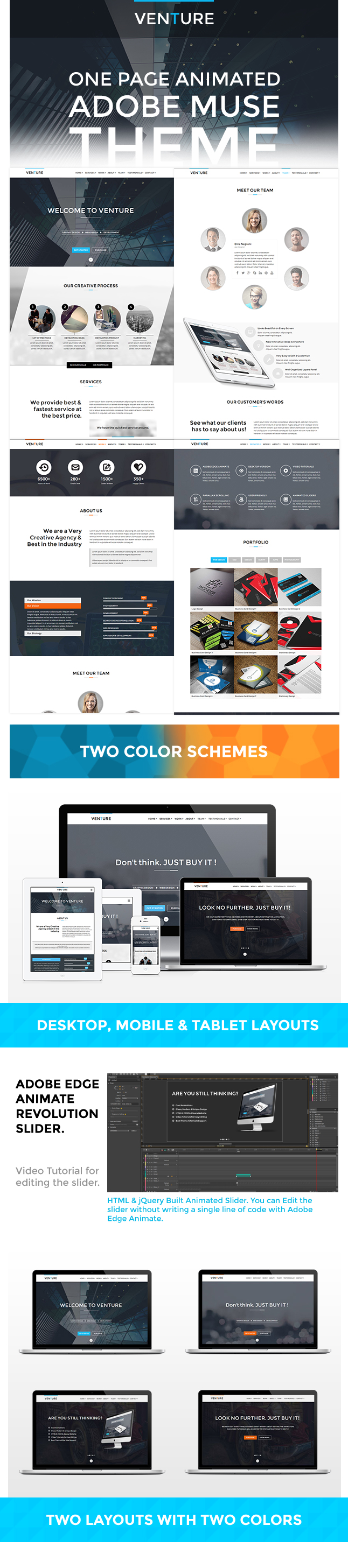 Venutre adobe muse animated website template by for Adobe muse mobile templates