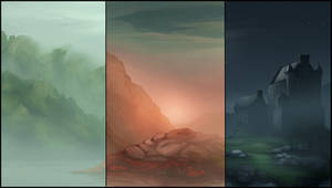 Castle in Fog Background Pack