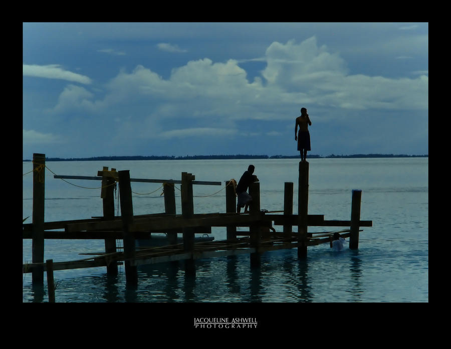 Boys on the Pier by Isquiesque