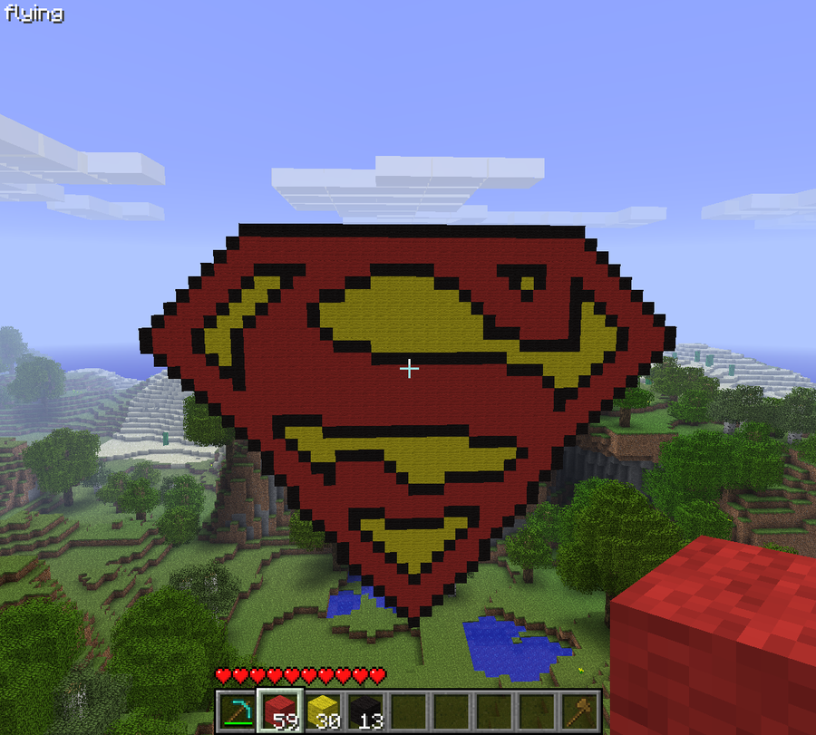 Minecraft Superman Pixel Art by LarpLoser