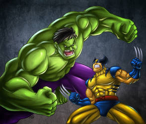 Hulk vs Wolverine by GONZZO